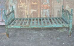 Antique Day Bed with faded blue paint, Gujarat <b>SOLD<b>